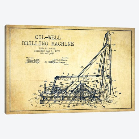 Oil Well Drilling Vintage Patent Blueprint Canvas Print #ADP1468} by Aged Pixel Canvas Artwork