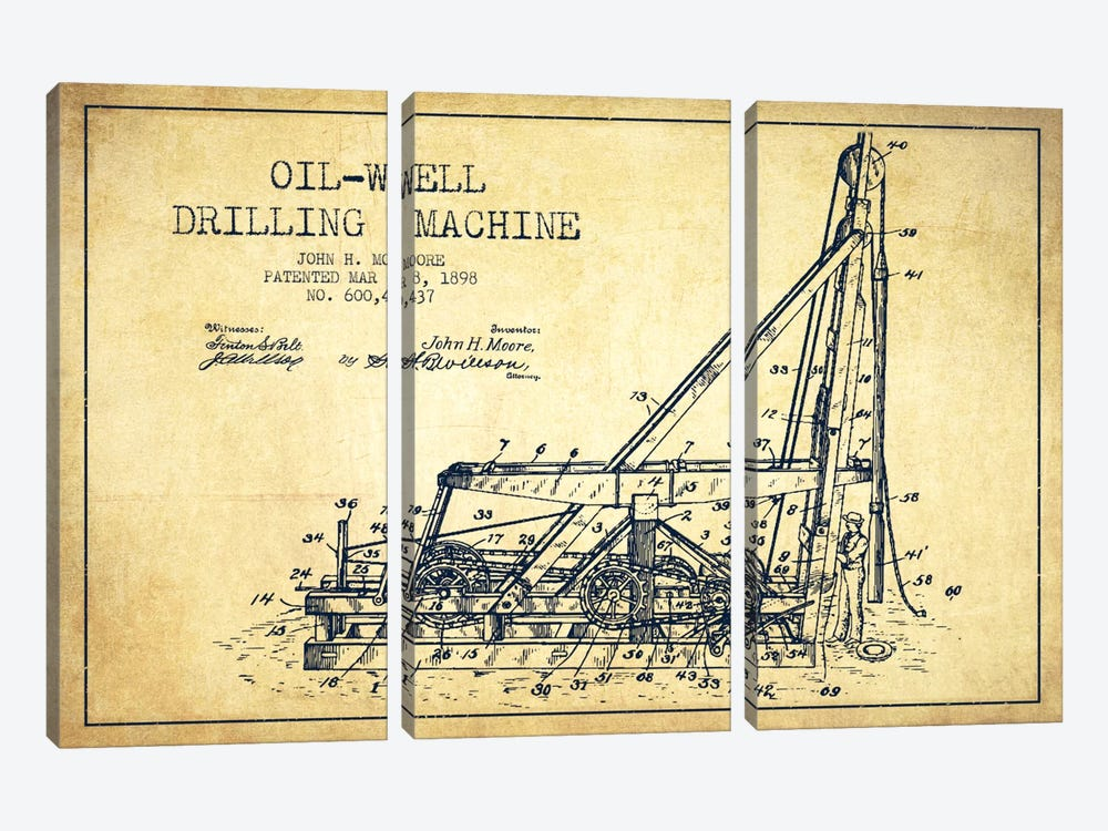 Oil Well Drilling Vintage Patent Blueprint by Aged Pixel 3-piece Canvas Print