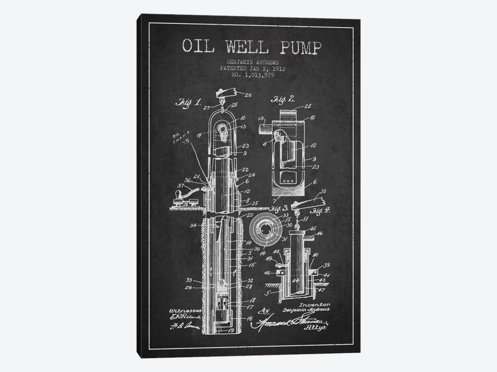 Oil Well Pump Charcoal Patent Blueprint by Aged Pixel 1-piece Canvas Artwork