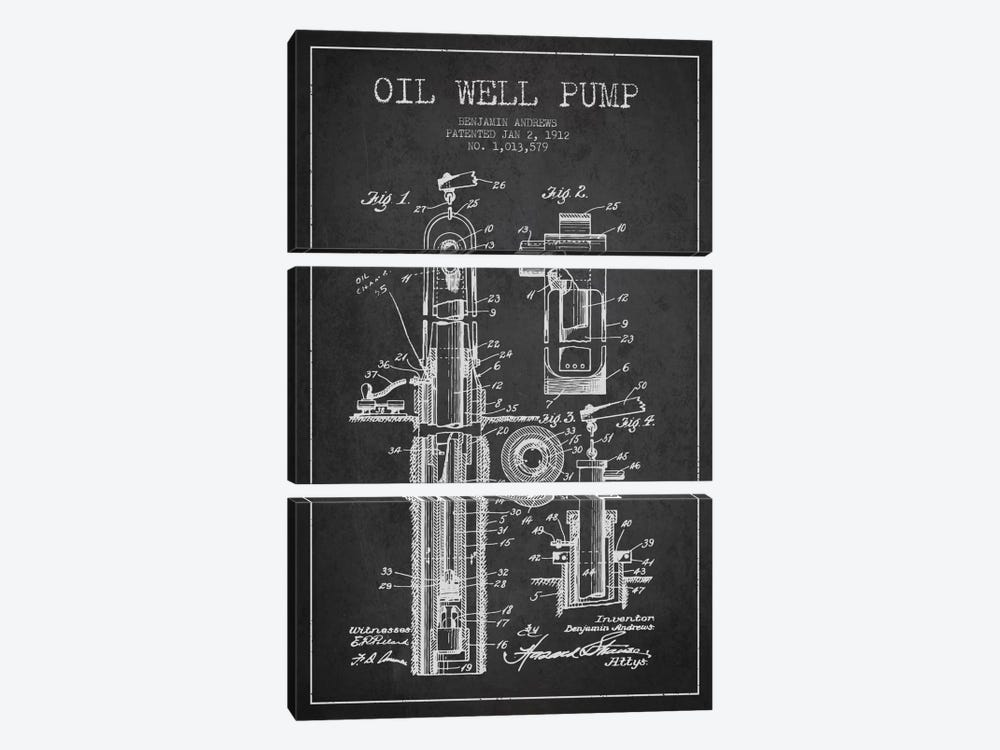 Oil Well Pump Charcoal Patent Blueprint by Aged Pixel 3-piece Canvas Art