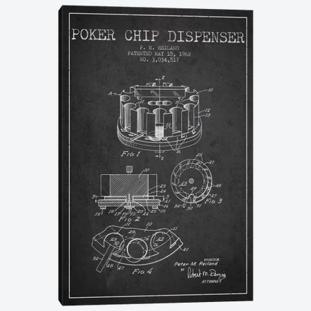 Poker Chip 3 Charcoal Patent Blueprint Canvas Print #ADP146} by Aged Pixel Art Print