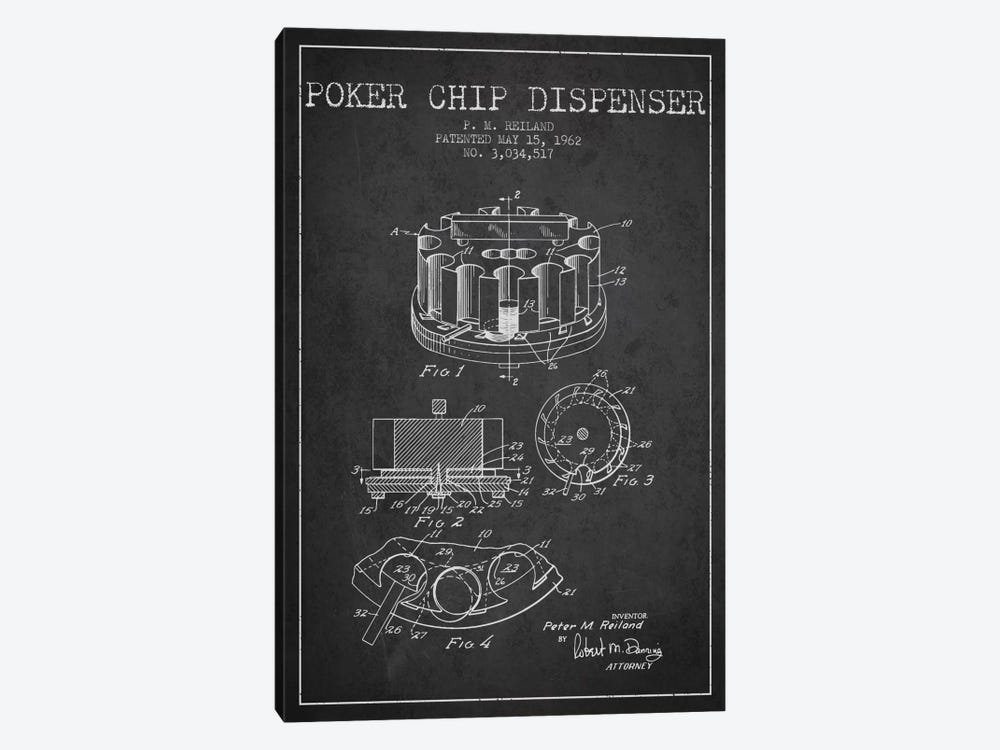 Poker Chip 3 Charcoal Patent Blueprint by Aged Pixel 1-piece Canvas Art