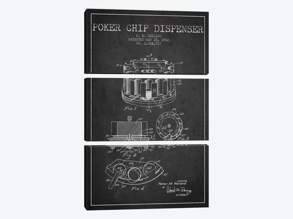 Poker Chip 3 Charcoal Patent Blueprint by Aged Pixel 3-piece Canvas Artwork