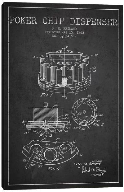 Poker Chip 3 Charcoal Patent Blueprint Canvas Art Print