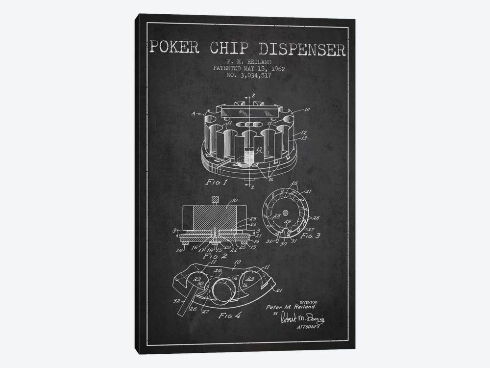 Poker Chip 3 Charcoal Patent Blueprint by Aged Pixel 1-piece Canvas Art
