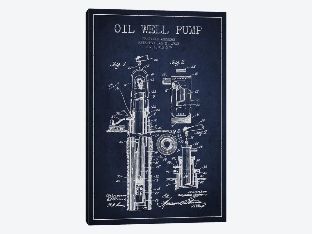 Oil Well Pump Navy Blue Patent Blueprint by Aged Pixel 1-piece Canvas Print
