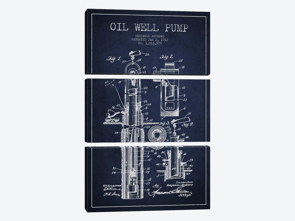 Oil Well Pump Navy Blue Patent Blueprint by Aged Pixel 3-piece Canvas Art Print