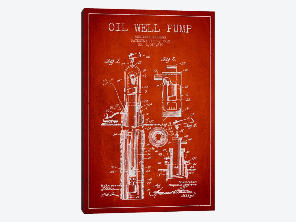 Oil Well Pump Red Patent Blueprint by Aged Pixel 1-piece Canvas Wall Art
