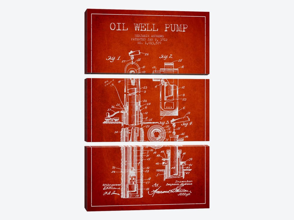 Oil Well Pump Red Patent Blueprint by Aged Pixel 3-piece Canvas Wall Art