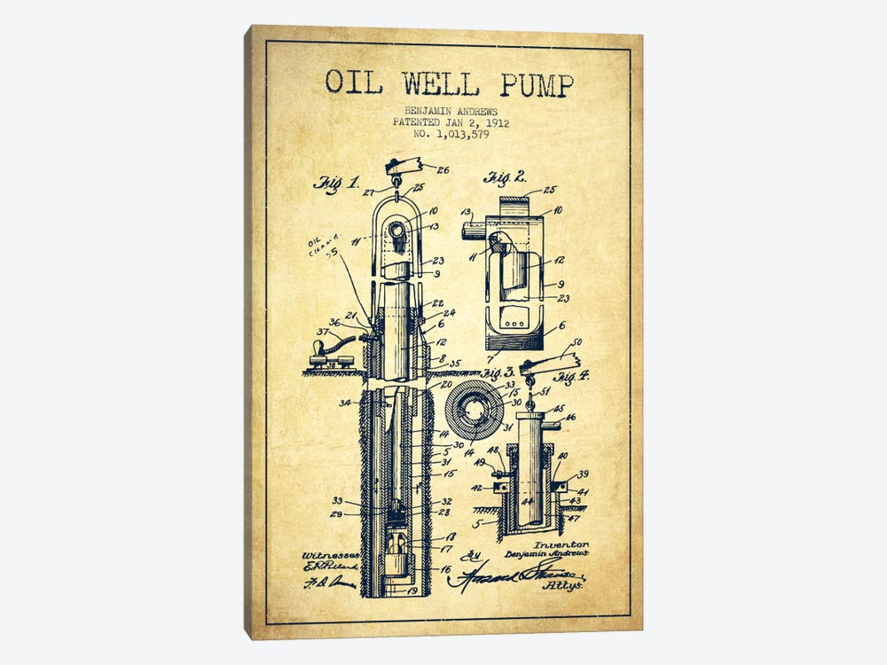 Oil Well Pump Vintage Patent Blueprint by Aged Pixel 1-piece Canvas Art Print