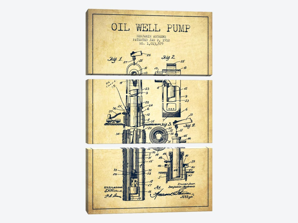 Oil Well Pump Vintage Patent Blueprint by Aged Pixel 3-piece Canvas Art Print