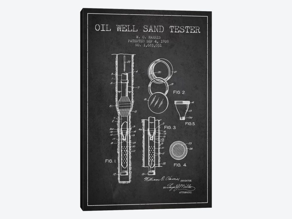 Oil Well Tester Charcoal Patent Blueprint by Aged Pixel 1-piece Canvas Wall Art