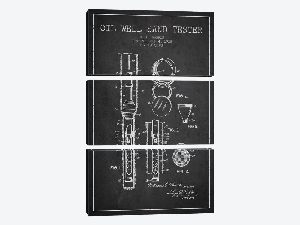 Oil Well Tester Charcoal Patent Blueprint by Aged Pixel 3-piece Canvas Wall Art