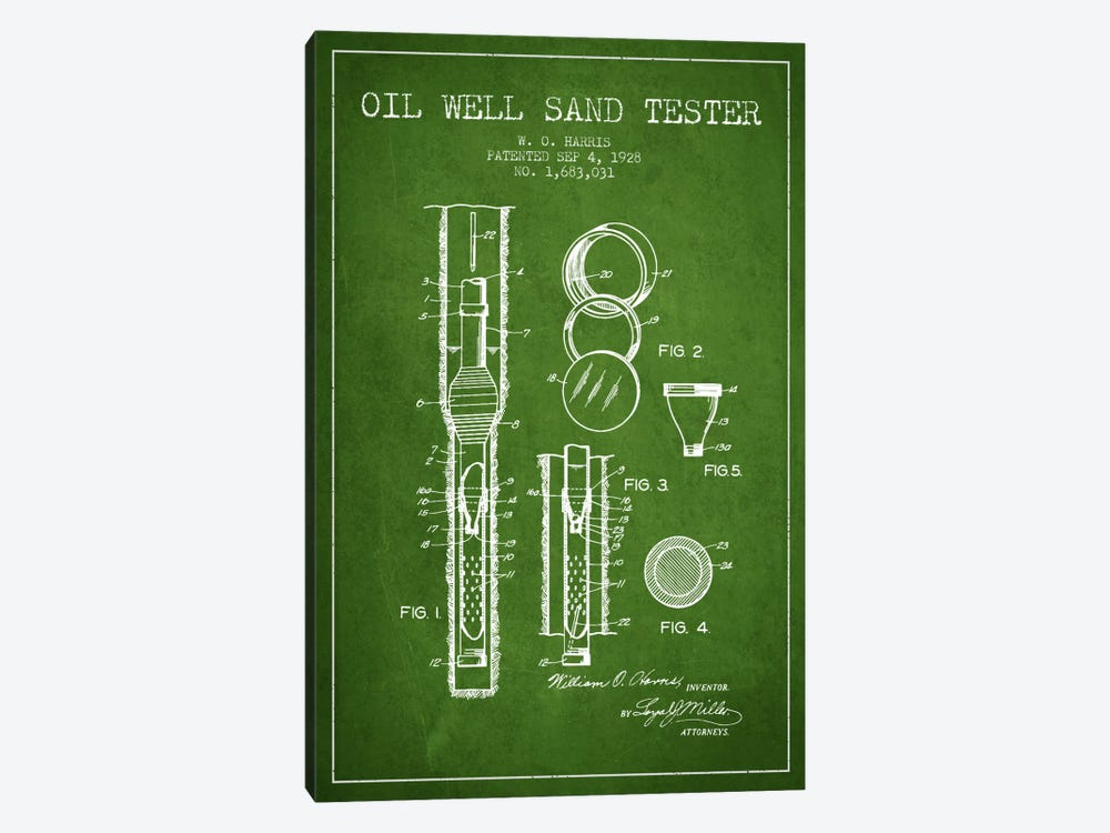 Oil Well Tester Green Patent Blueprint by Aged Pixel 1-piece Canvas Print