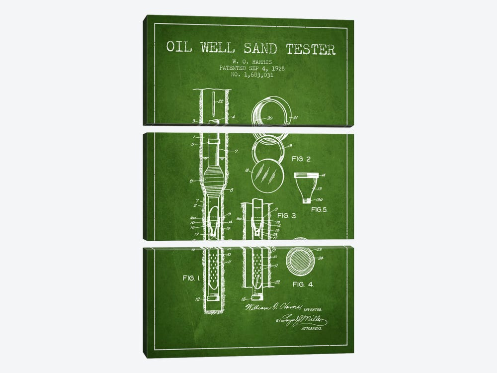 Oil Well Tester Green Patent Blueprint by Aged Pixel 3-piece Art Print
