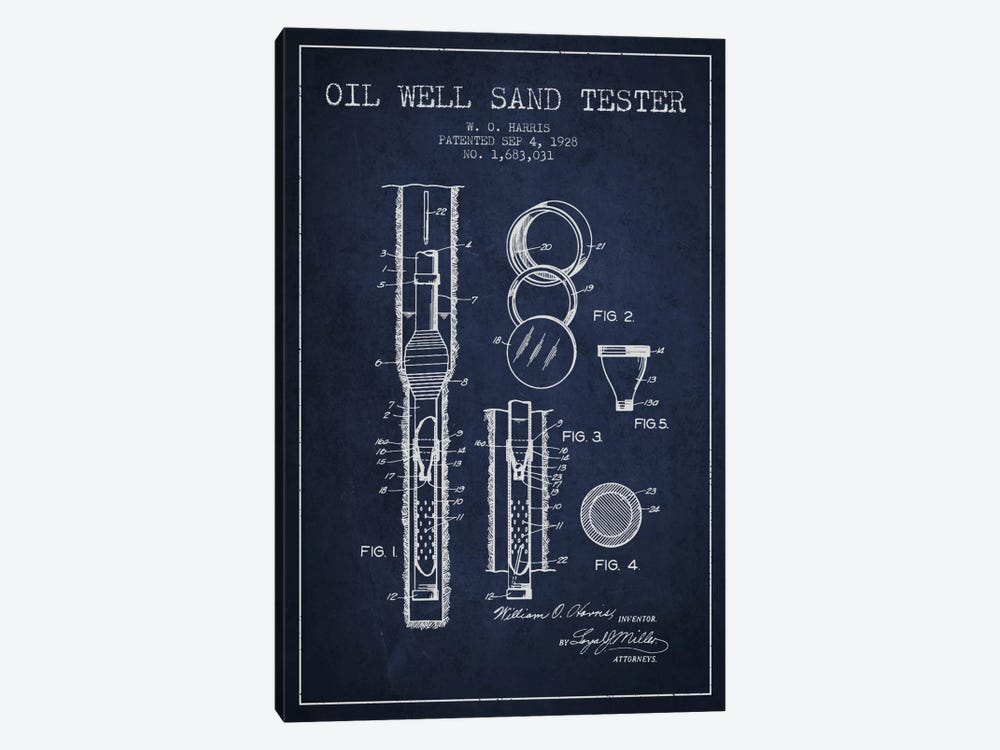 Oil Well Tester Navy Blue Patent Blueprint by Aged Pixel 1-piece Canvas Art