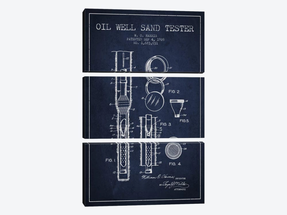 Oil Well Tester Navy Blue Patent Blueprint by Aged Pixel 3-piece Canvas Art