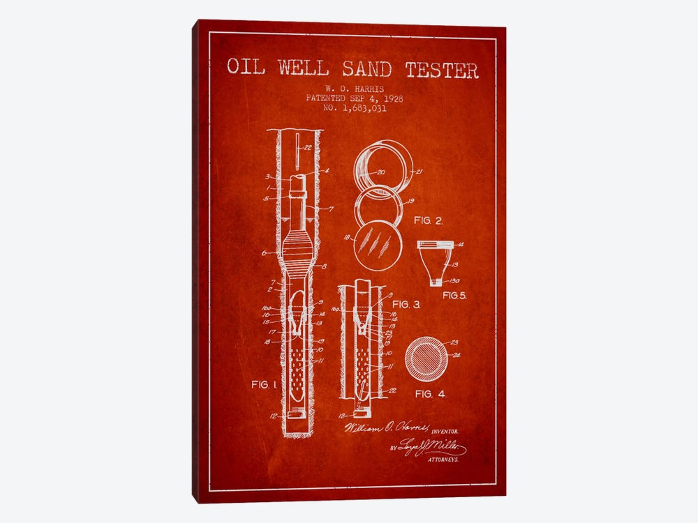Oil Well Tester Red Patent Blueprint by Aged Pixel 1-piece Art Print