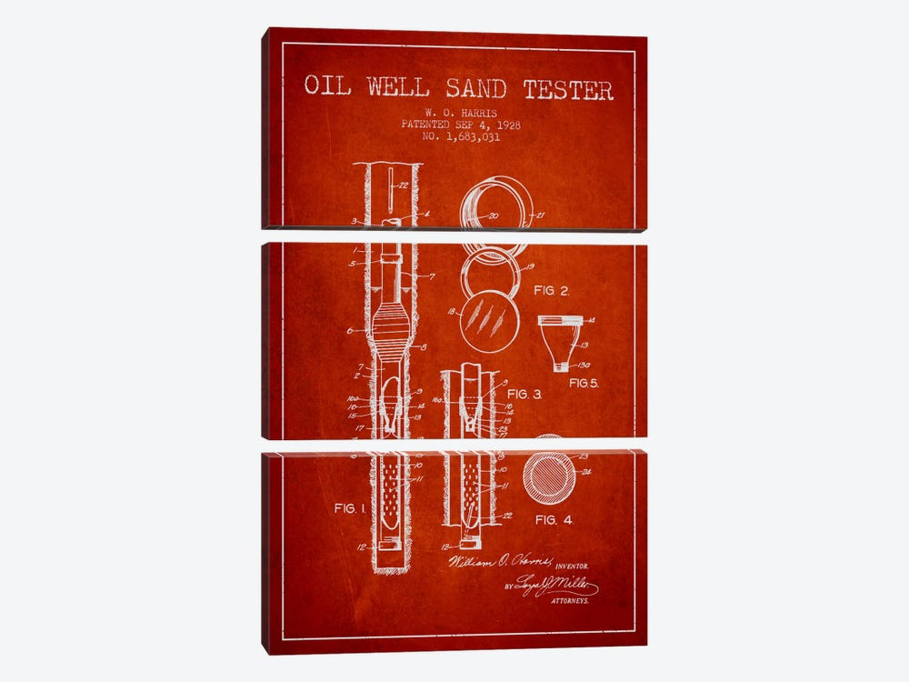 Oil Well Tester Red Patent Blueprint by Aged Pixel 3-piece Art Print