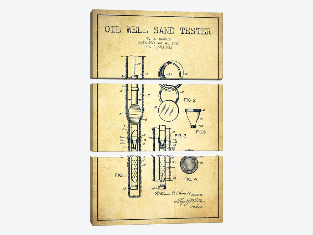 Oil Well Tester Vintage Patent Blueprint 3-piece Canvas Artwork