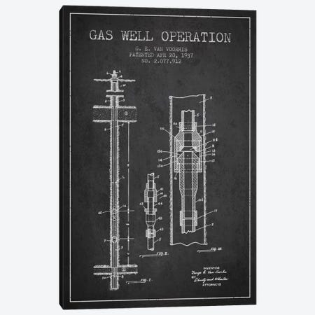 Gas Well Operation Charcoal Patent Blueprint Canvas Print #ADP1479} by Aged Pixel Canvas Print