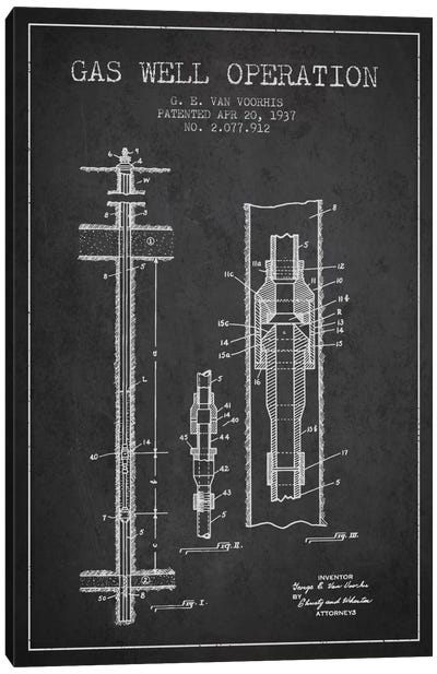 Gas Well Operation Charcoal Patent Blueprint Canvas Art Print