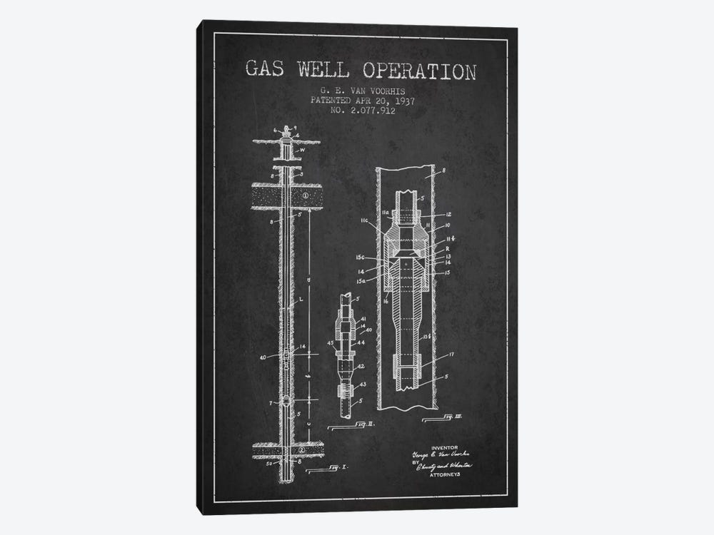 Gas Well Operation Charcoal Patent Blueprint by Aged Pixel 1-piece Art Print