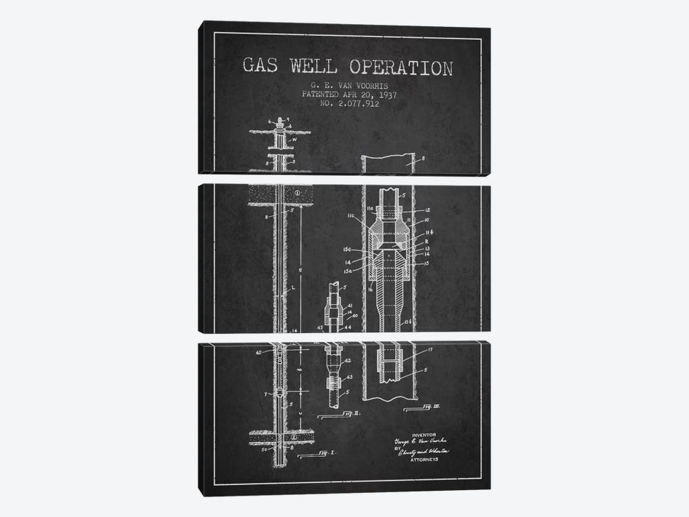 Gas Well Operation Charcoal Patent Blueprint by Aged Pixel 3-piece Canvas Art Print
