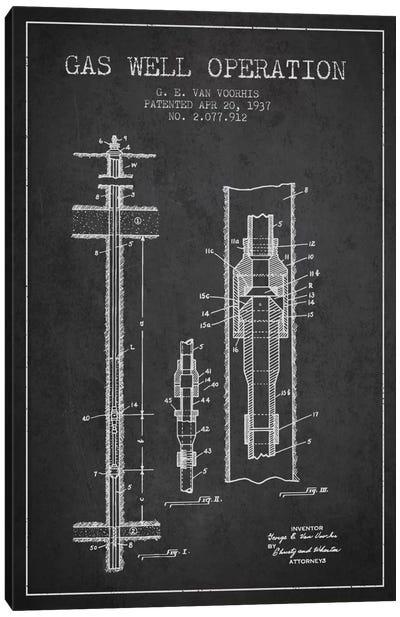 Gas Well Operation Charcoal Patent Blueprint Canvas Art Print