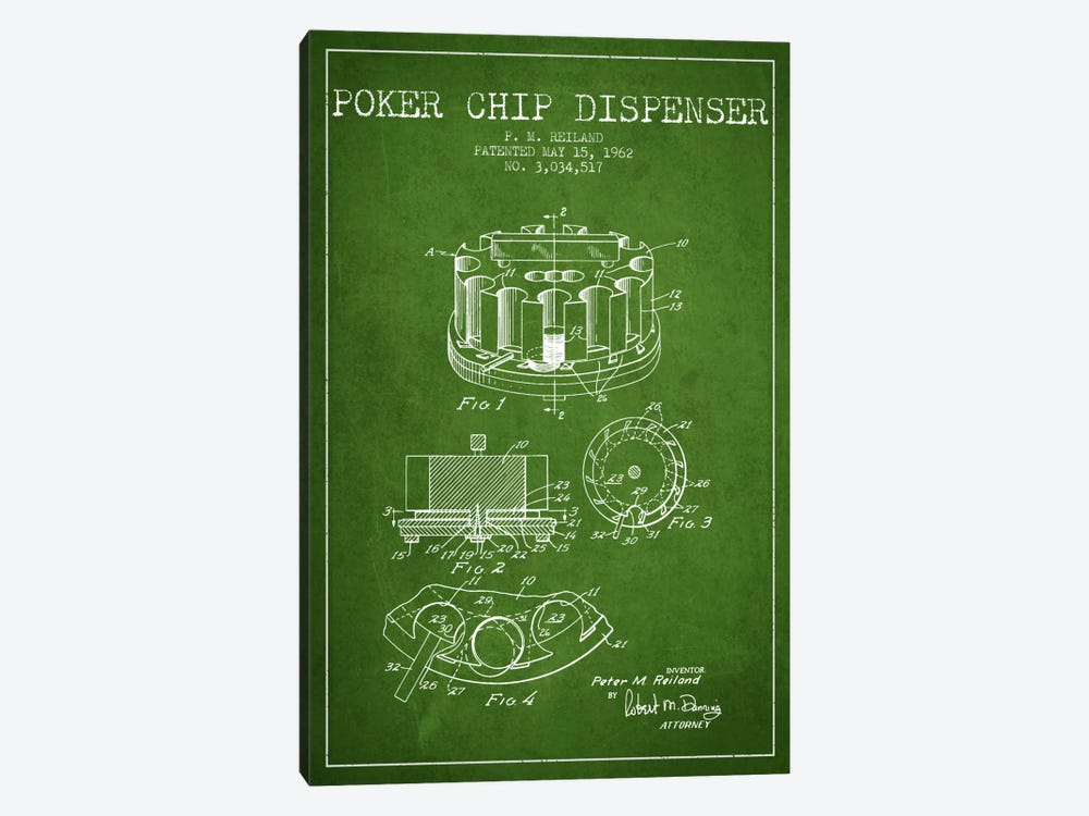 Poker Chip 3 Green Patent Blueprint by Aged Pixel 1-piece Canvas Print