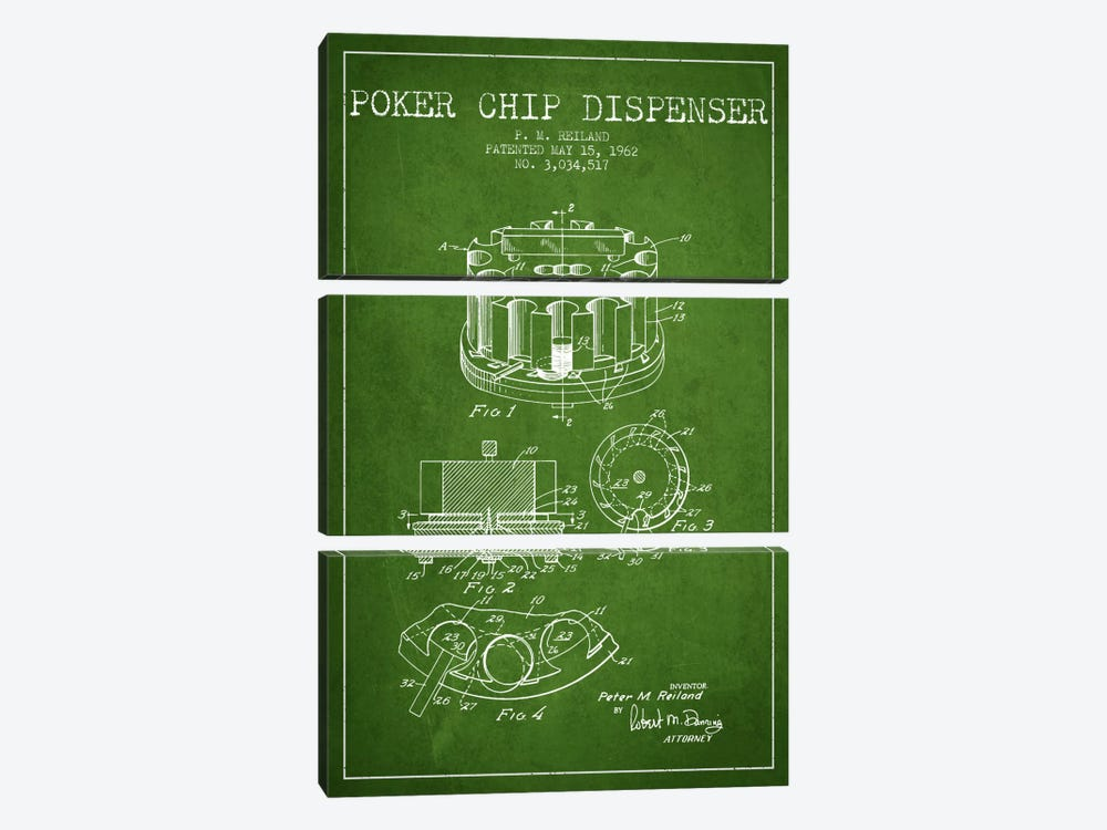 Poker Chip 3 Green Patent Blueprint by Aged Pixel 3-piece Art Print