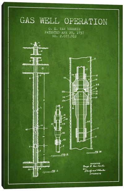 Gas Well Operation Green Patent Blueprint Canvas Art Print