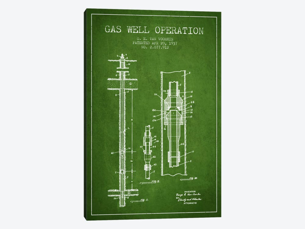 Gas Well Operation Green Patent Blueprint by Aged Pixel 1-piece Art Print