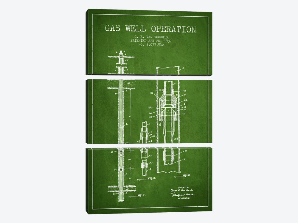 Gas Well Operation Green Patent Blueprint by Aged Pixel 3-piece Art Print