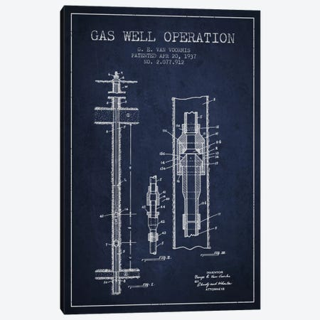 Gas Well Operation Navy Blue Patent Blueprint Canvas Print #ADP1481} by Aged Pixel Canvas Art