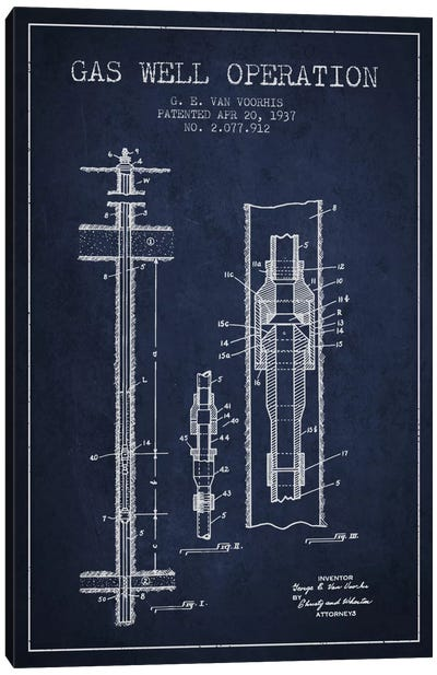 Gas Well Operation Navy Blue Patent Blueprint Canvas Art Print
