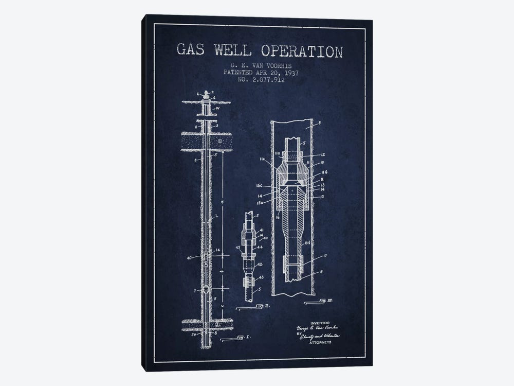 Gas Well Operation Navy Blue Patent Blueprint 1-piece Canvas Artwork