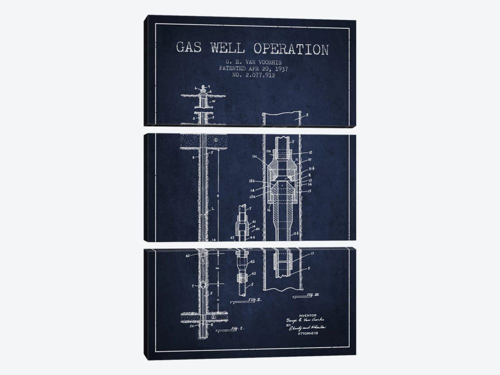 Gas Well Operation Navy Blue Patent Blueprint 3-piece Canvas Artwork
