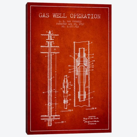 Gas Well Operation Red Patent Blueprint Canvas Print #ADP1482} by Aged Pixel Canvas Art