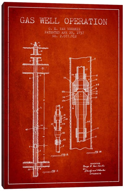 Gas Well Operation Red Patent Blueprint Canvas Art Print