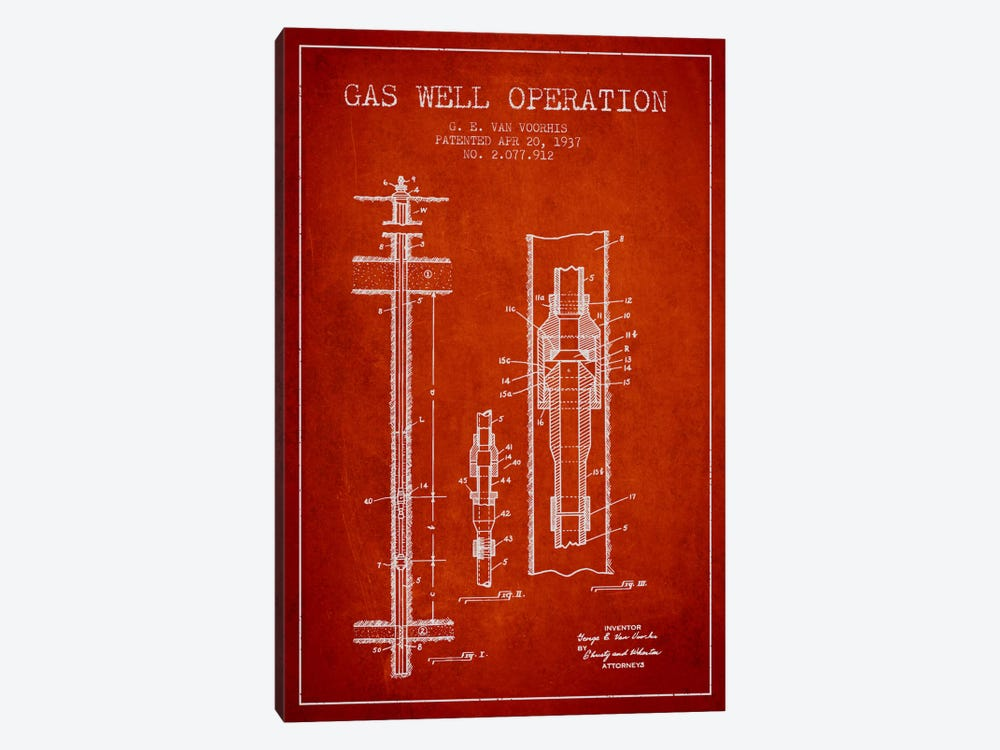 Gas Well Operation Red Patent Blueprint 1-piece Canvas Art Print