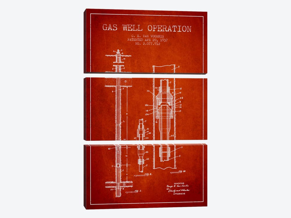 Gas Well Operation Red Patent Blueprint by Aged Pixel 3-piece Canvas Print