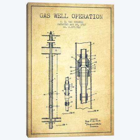 Gas Well Operation Vintage Patent Blueprint Canvas Print #ADP1483} by Aged Pixel Canvas Art