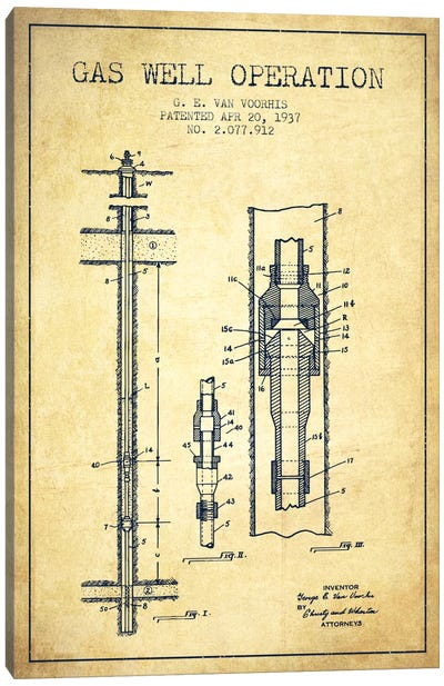 Gas Well Operation Vintage Patent Blueprint Canvas Art Print