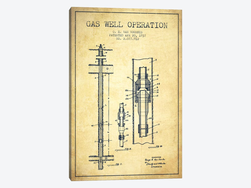 Gas Well Operation Vintage Patent Blueprint by Aged Pixel 1-piece Canvas Art
