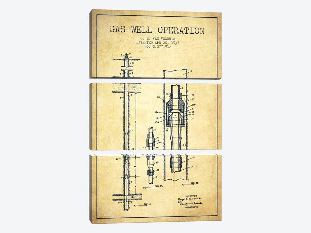 Gas Well Operation Vintage Patent Blueprint by Aged Pixel 3-piece Canvas Art