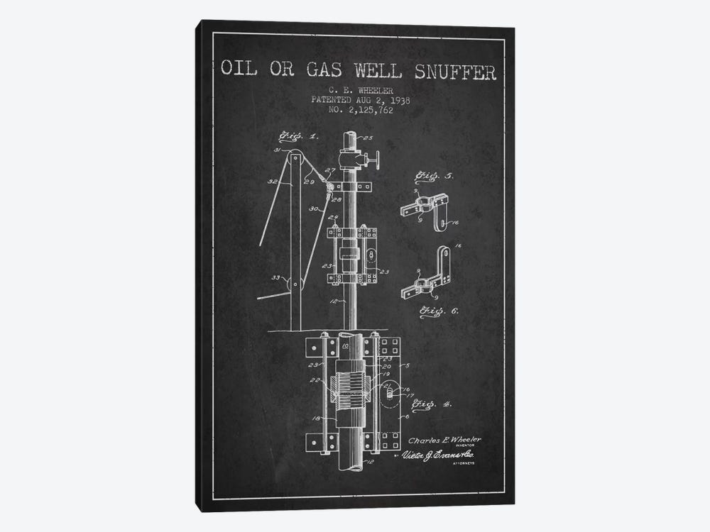 Gas Oil Snuffer Charcoal Patent Blueprint by Aged Pixel 1-piece Canvas Print