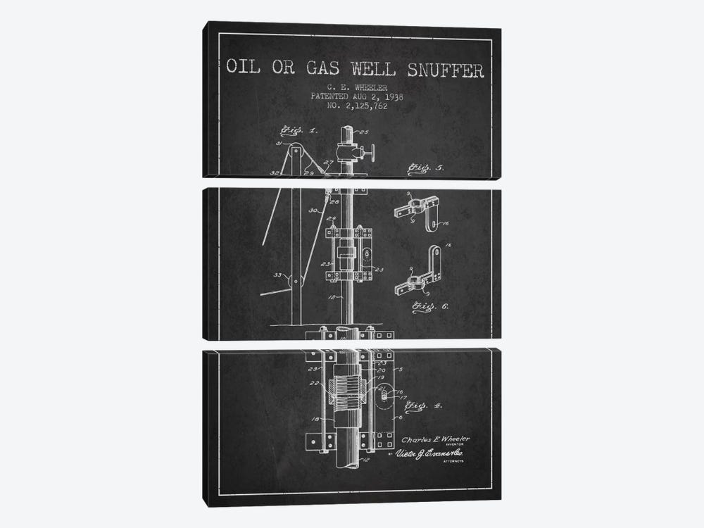 Gas Oil Snuffer Charcoal Patent Blueprint by Aged Pixel 3-piece Canvas Print
