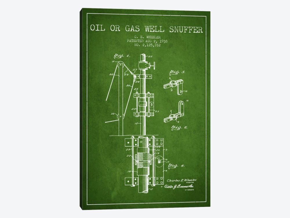 Gas Oil Snuffer Green Patent Blueprint by Aged Pixel 1-piece Canvas Wall Art