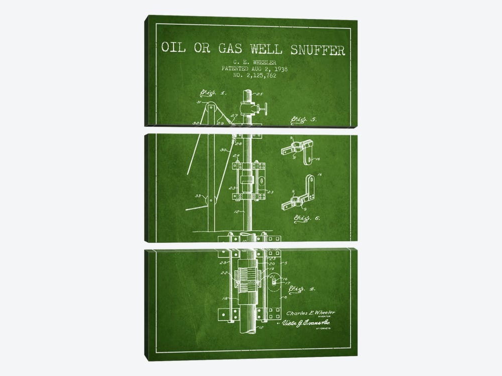 Gas Oil Snuffer Green Patent Blueprint by Aged Pixel 3-piece Canvas Wall Art